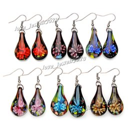 Wholesale Earring Murano - Fashin wholesale 6Pairs handmade mix color Italian Gold sand Drop Flower Lampwork murano glass Earrings Free shipping #E107 Z