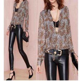 Wholesale Ladies Blouses Leopard Print - Modern Spring Summer Sexy Women Long Sleeve Chiffon Leopard Tops Blouse Shirts Ladies Blusas clothes S,M,L,free shipping Jul23