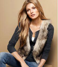 Wholesale Wholesale Faux Fur Vests - Warm Fashion Faux Fur Vest Laies Gilet Waistcoat Jacket S M L Free Shipping