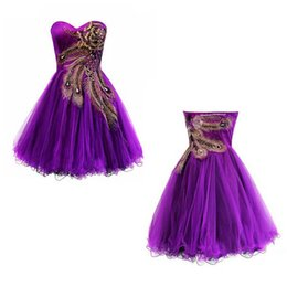 Wholesale Peacock Pictures - 2015 Purple Peacock Embroidery Short Prom Dresses Sweetheart Ball Gown Back Zipper Above Knee Formal Gown Dress Custom Made