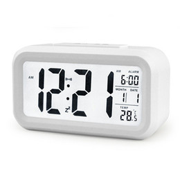 Wholesale Lcd Digital Thermometers - 5 Color LED Digital LCD Alarm Clock Time Calendar Thermometer Snooze Backlight Clock