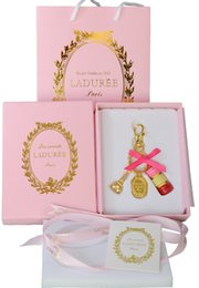 Wholesale Zinc Bags - Rose red France LADUREE Effiel Tower keychain fashion Macarons cake keyring souvenirs premium gifts bag charms gifts for her