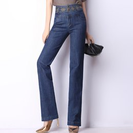 Wholesale Embroidery Trousers - Embroidery jeans for women denim high waist casual pants straight full length trousers female plus size spring autumn cotton blend 1230501