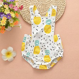 Wholesale Pineapple Patterns - New Cute Baby Summer Rompers Sleeveless Cotton Pineapple Pattern Infant Clothing Jumpsits Romper One-piece Boys Girls Rompers A8084