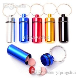 Wholesale Trendy Pill Boxes - Wholesale-Hot# New#2015#keychains Hot Aluminum Waterproof Pill Shaped Box Bottle Holder Container llaveros chaveiros Keychain Keyring