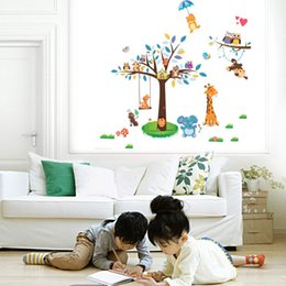 Wholesale Baby Decals For Nursery - New Arrival Animal Paradise Zoo Wall Sticker Giraffe Monkey Forest Tree Wall Decal Decor for Living Room Baby Kids Nursery Children Room
