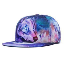Wholesale Cute Caps For Women - Raisevern new fashion galaxy baseball cap for women men cute animal pattern print snapback snap back hip hoppeak hats gorras