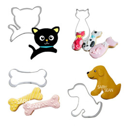 Wholesale Biscuit Dog - 4pcs set Metal Stainless Steel Lovely Family Animals of Dog Cat and Bone Cookie Cutters Fondant Biscuits Cutters Tools
