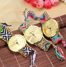Wholesale Hand Watch Geneva - Geneva watches Women Handmade Weave Watches Braided Rope Quartz Wristwatches Fashion Hand-woven Ladies Girls Wrist Watch Christmas Gifts