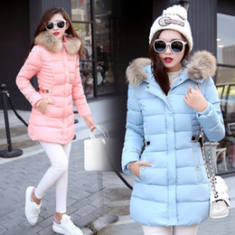 Wholesale white long puffer coat - Plus Size 3XL Fashion Slim Tunic Zipper Puffer Feather Jacket Black Red Pink Gray for Women Clothing Long Down Coat with Faux Fur Hood
