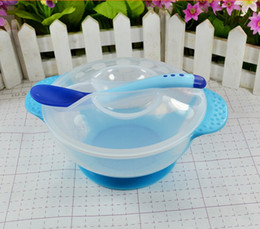 Wholesale Gravity Bowl - Child tableware baby sucker dishes For kids gravity bowl slip-resistant wall suction bowl puick soft head spoon set