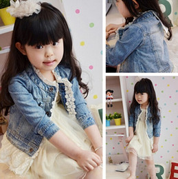 Wholesale Kid Girl Winter Coats - denim lace jacket girl girls kids lace cowboy jacket denim top button jean coats denim jackets denim coat outerwear in stock free shipping