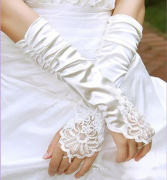 Wholesale Stock Fingerless Gloves - 2015 Cheapest Black Satin Bridal Gloves Beading Fingerless Excellent Quality Elbow Length In Stock Bridal Accessories Ivory Wedding Glvoes_