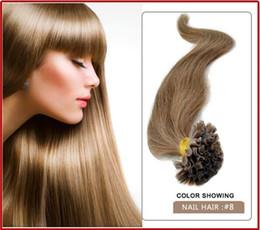 "Wholesale Wholesale Keratin Bond Hair Extensions - wholesale -200s pack 0.8g s 14''- 24"" Keratin Stick u Tip Human Hair Extensions Brazilian hair 8# light brown dhl Fast shipping"
