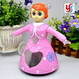Wholesale Rapunzel Cartoon - YIJUN TOYS YJ-3003 Baby Toys electronic dance 3D's Eye doll Electric Music Dolls Rapunzel Cute Kids Baby Doll Birthday Gift
