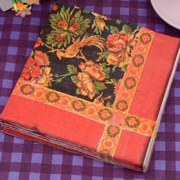 Wholesale decorative paper napkins wholesale - Color Flower Decorative Paper Napkin Retro Festive Party Placemats Tissues DIY Eco Friendly Serviettes Online SD913