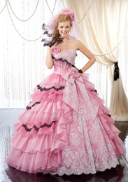 Wholesale Colourful Crystal Dress - New Glorious Pink Quinceanera Dresses 2015 Strapless Colourful Tiers Appliques Flower Ball Gown Floor Length Prom Dresses Princess Dresses