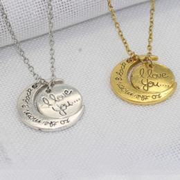 Wholesale Family Christmas Holiday - Fashion Necklace Moon Necklace I Love You To The Moon And Back For Mom Sister Family Pendant Link Chain Jewelry Holiday Gift