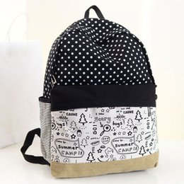 Wholesale Pretty Backpacks - Pretty dots design summer camp canvas fashionable women backpack middle school student book bag leisure backpack