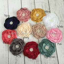 Wholesale Handmade Fabric Flower Hair Clips - Fabric Handmade Flowers Matching Pearls Satin Poppy Layered Flower Baby Girl Hair Accessory Without Hair Clip 22pcs lot
