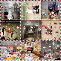 Wholesale Sticker Wall Plastic - Christmas decorations wall stickers winter holiday decorations anti-static window stickers no glue glass stickers free shopping