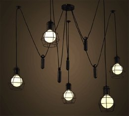 Wholesale Pendant Light Vintage Bulb Diy - Loft Pendant Light Vintage Nordic Loft Edison Bulb Chandelier Retro Ceiling Spider Pendant Lamp Antique Adjustable DIY E27 Art Lght Fixture