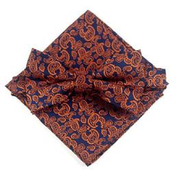 Uomini legami di arco floreale online-set fiocco floreale bowknot fiocco papillon floreale fazzoletto per uomo d'affari matrimonio stampa tasca quadrata farfalla gialla