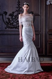 Wholesale Model Bolero Wedding Gown - Perfect Mermaid Grey Wedding Dresses 2016 Fall Winter Collection Appliques Pleats Custom Made Bridal Gowns With Tulle Bolero