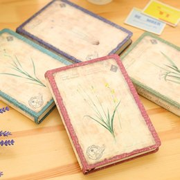 Wholesale Diary Book Flower - Wholesale- Promotion Good Quality Flower Pattern Vintage Diary Book Thicken Creative Color Paper Notebook Stationery Student School Use PL