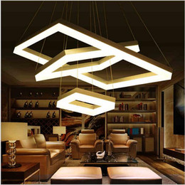 Wholesale Tom Dixon White Lamp - modern led pendant lights for dining room living room Rectangle Acrylic led pendant lamp fixture lamparas modernas LED square pendant light
