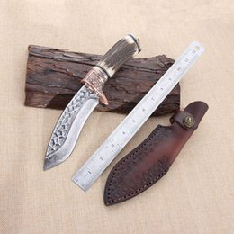 Wholesale Forging Damascus - Original ecological antler production handle, Damascus steel hand - forged knife, dog leg, small Machete, outdoor camping collection gift