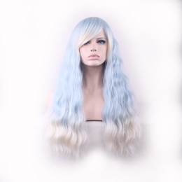 Wholesale White Long Ladies Wig - WoodFestival ombre wig with bangs women blue gradient white harajuku long corn fluffy curly hair wigs ladies kinky curly synthetic fiber wig