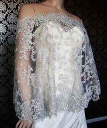 Wholesale Lace Embroidery Jackets - 2016 Best Selling Silver Embroidery Lace Off-Shoulder bolero jacket For wedding dress Tulle Exquisite Bridal Wraps Wedding Accessories Cheap