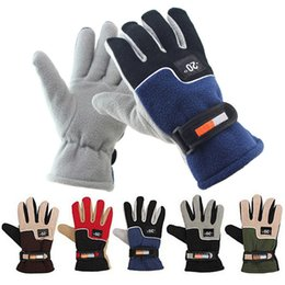Wholesale Winter Men Gloves Fleece - Men Cycling Gloves Cold-proof Winter Warm Fleece Thermal Full Finger Glove Motorcycle Snow Snowboard Skiing Gloves