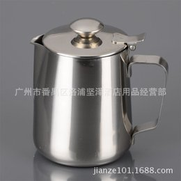 Wholesale Cupping Apparatus - The pitcher with cover thick stainless steel foam cylinder cup garland milk latte cup apparatus