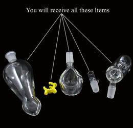 Vaso a mano online-3 Funzioni pezzo Tubo manuale ad elica con clip Vaso in vetro Perc Percolatore per acqua 14,5 mm comune