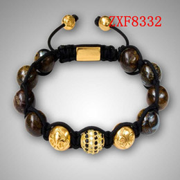 Wholesale Birthday Crystal Ball Gift - 2016 Nialaya New party Birthday gift Bracelet Shamballa crystal natural stone tresor Diamonds ball alloy Gold Plated bracelet ZXF8332