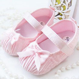 Wholesale Cotton Damask - Lovely Baby Girls Toddler Newborns Damask Bowknot Soft Crib Shoes Non Slip Shoe Free shiping & Drop shipping TX015