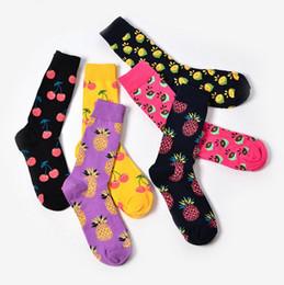 Wholesale Lovely Fruits - New design cotton jacquard fruit socks women fashion cute pineapple cherry lemon food socks lovely novelty socks