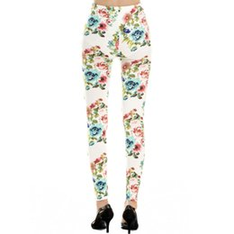 Wholesale Trousers Black Flowers - Wholesale-Fashion Style Imiation Jeans Material Women Trousers Seamless Rose Flower Leggings Free Shipping