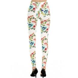 Estilo Al por mayor-Moda Imiation Jeans Material Mujeres Pantalones Seamless Rose Flower Leggings Envío gratis desde fabricantes