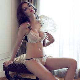 6bcbc2d98 Soutien-gorge sexy en dentelle sous-vêtements ensemble soutien-gorge mince  push-up taille dentelle blanche ultra-mince sous-vêtements féminins  ensembles de ...