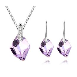 Wholesale South Korean Fashion - South Korean Necklace Earrings Sets Water Drop Pendant Jewelry Sets Retro Fashion Crystal Necklace Jewelry For Women SET-00051