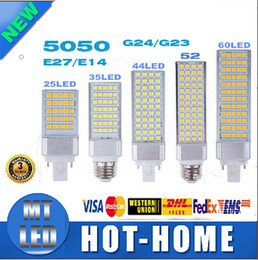 Wholesale Leds G24 - x2 sample smd 5050 LED corn bulb Horizontal Plug lights 180 degeree E26 E27 E14 G24 G23 5W 7W 9W 12W 14W 15W 64 LEDs lighting AC 85-265