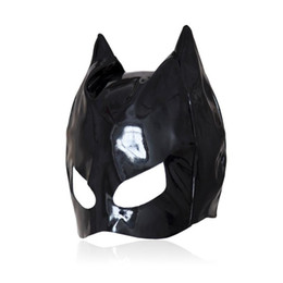 unisex costume lingerie Promo Codes - Sexy Cat Mask Sexy Cats Eye Mask Catsuit Costume Black Leather Hood Sexy Lingerie Fancy Dress Cosplay Accessory B0301027