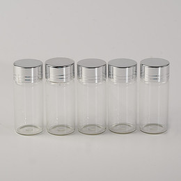 Стеклянные бутылки крышки банки онлайн-Wholesale- 10ml Glass Bottles Screw Cap Silver Aluminium Lid Empty Glass Jars Vials Bottles Sealing up Mason Jars 10ml 100pcs