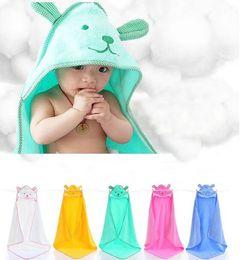 Wholesale Kids Hooded Blankets - Wholesale- 100*100cm Lovely Baby Bath Towel Cartoon Bear Infant Hooded Bathrobe Baby Blankets Swaddle Cotton Kids Bedding Super Soft