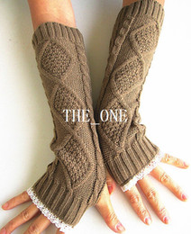 Wholesale Long Lace Fingerless Gloves - lace women gloves knit arm warmers womens Fingerless Knit Gloves Wrist winter ladies long fingerless arm warmers gloves free shipping