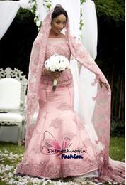 Wholesale Sparkling Long Mermaid Dresses - Sexy Bateau Neck Mermaid Wedding Dresses Pink Lace Long Sleeves Sparkling Beads Appliques Zipper Back Long 2016 Elegant Bridal Gowns Arabic