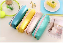 Wholesale Navy Gift Bag - Fresh Style Candy Color Horse PU Leather Pencil Case Stationery Storage Bag Escalar Papelaria Escolar School Supplies free ship 1347